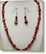 3536 Freshwater Pearl Necklace And Earring Set Metal Print