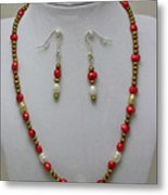 3539 Pearl Necklace And Earring Set Metal Print
