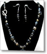 3545 Black Cracked Agate Necklace And Earring Set Metal Print