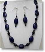 3555 Lapis Lazuli Necklace And Earring Set Metal Print