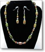 3565 Unakite Necklace And Earrings Set Metal Print