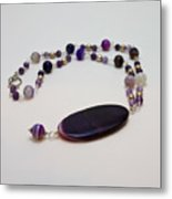 3573 Banded Agate Necklace  Metal Print