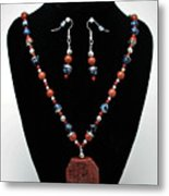 3578 Jasper And Agate Long Necklace And Earrings Set Metal Print