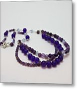 3580 Amethyst And Adventurine Necklace Metal Print