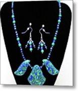 3582 Lapis Lazuli Malachite Necklace And Earring Set Metal Print