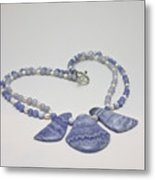 3588 Blue Banded Agate Necklace Metal Print