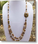 3615 Long Pearl Crystal And Citrine Necklace Featuring Vintage Brass Brooch  Metal Print