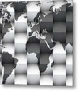 3d Black And White World Map Composition Metal Print