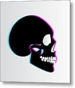 3d Skull Icon Background Side On Metal Print