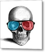 skull with 3D glasses Metal Print
