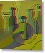 3d Stereo Cubism - Use Red-cyan 3d Glasses Metal Print