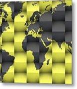 3d World Map Composition 4 Metal Print