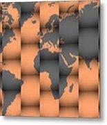 3d World Map Composition Metal Print