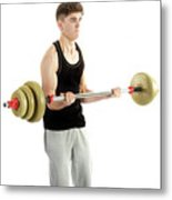 18 Year Old Teenage Boy Exercising With Weights Metal Print