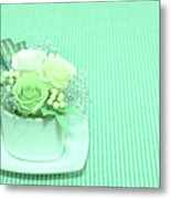 A Gift Of Preservrd Flower And Clay Flower Arrangement, White An Metal Print