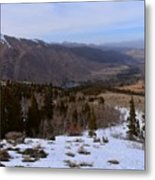 A Snowy Desert Mountain Scene Above Twin Lakes Along The Trail To Monument Ridge In The Eastern Sier Metal Print