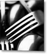 Abstract Black And White Forks Metal Print