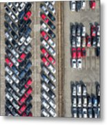 Aerial View Lot Of Vehicles On Parking For New Car. Metal Print