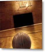 Basketball And Basketball Court Metal Print