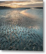 Beautiful Beach Coastal Low Tide Landscape Image At Sunrise With Metal Print