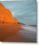 Beautiful Vibrant Sunset Landscape Image Of Burton Bradstock Gol Metal Print