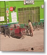 Belize - Green Market Bicycles Metal Print