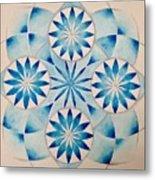 4 Blue Flowers Mandala Metal Print