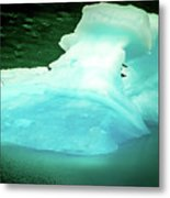 Blue Icebergs And Ice Chunks In Water Nearby Alaska Metal Print