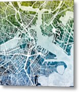 Boston Massachusetts Street Map Metal Print