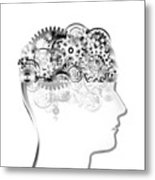 Brain Design By Cogs And Gears Metal Print