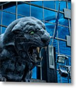 Carolina Panthers Statue Covered In Snow Metal Print