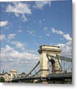 Chain Bridge On Danube River Budapest Metal Print