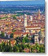 City Of Verona Old Center And Adige River Aerial Panoramic View Metal Print