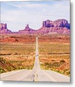 descending into Monument Valley at Utah  Arizona border  Metal Print