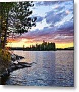 Dramatic Sunset At Lake Metal Print