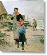 Fisherfolk Returning With Their Nets 1882 Henry Bacon Metal Print