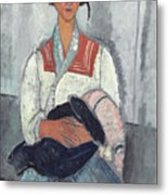 Gypsy Woman With Baby Metal Print