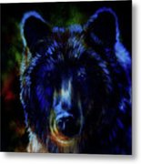 head of mighty brown bear, oil painting on canvas and graphic collage. Eye contact. Metal Print
