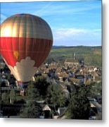 Hot Air Balloon Over Burgundy Metal Print
