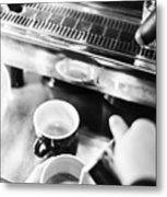 Italian Espresso Expresso Coffee Making Preparation With Machine Metal Print