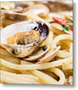 Italian Spaghetti And Clams Made In Naples Metal Print
