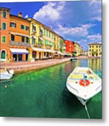 Lazise Colorful Harbor And Boats Panoramic View Metal Print