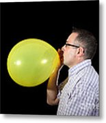 Man Inflating Balloon Metal Print