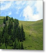 Natural Scenery With Mountains And Cloudy Sky. Metal Print