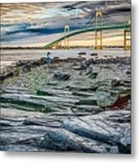 Newport Bridge At Sunset With Dramatic Sky Metal Print