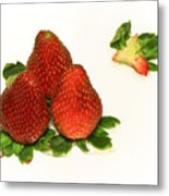 4... No... 3 Strawberries Metal Print