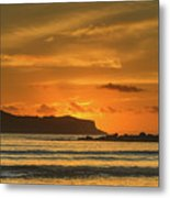 Orange Sunrise Seascape And Silhouettes Metal Print
