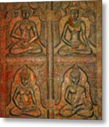 4 Panels Buddhas Wall Carving With Antique Filter Metal Print