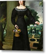 Portrait Of A Young Lady With Flower Basket Metal Print