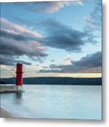 Red Lighthouse Of Cres On A Cloudy Day In Spring Metal Print